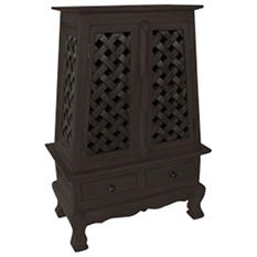 Carved Lattice Storage Cabinet/End Table - Dark