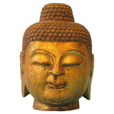 Antique Style Gold Leaf Stone Buddha Head Statue
