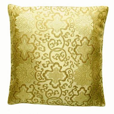 Handmade Chinese Lotus Flower Gold Pillow Sham
