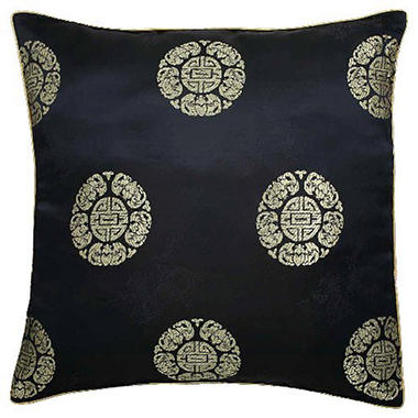 Chinese Dragons & Lotus Flower Black Pillow Sham