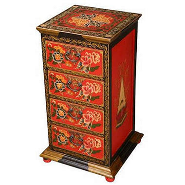 Hand-Painted Red and Black Tibetan Dresser/End Table