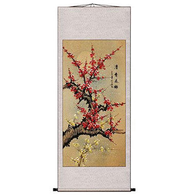 Pink Asian Plum Flowers Wall Art Scroll Painting