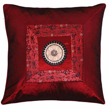 Chinese Calligraphy Silky Red Pillow Sham