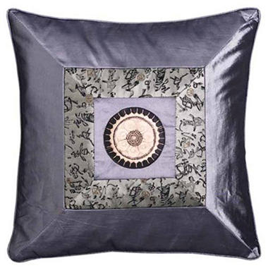 Chinese Calligraphy Silky Silver Pillow Sham