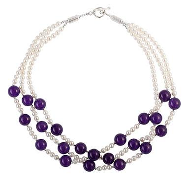 Pearl & Amethyst Three-Strand Necklace