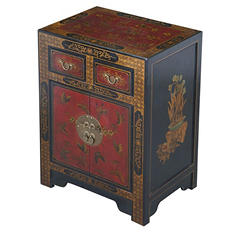 Oriental Antique Style Black Leather End Table With Nature Motifs