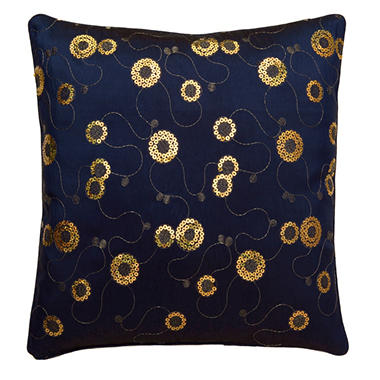 Blue Circle Pillow Sham With Decorative Sequins
