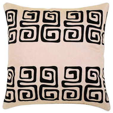 Decorative Black Swirl On Beige Pillow Sham