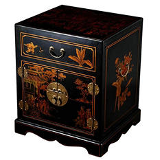 Oriental Antique Style Black Leather Mandarin End Table / Nightstand