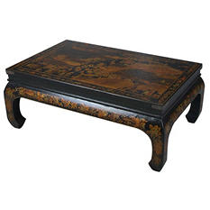 Oriental Antique Style Black Leather Heirloom Mandarin Coffee Table