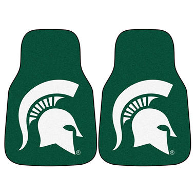 "NCAA Michigan State 2-Piece Carpeted Car Mats - 18"" x 27"""