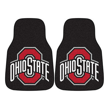 NCAA Ohio State 2-Piece Carpeted Car Mats - 18