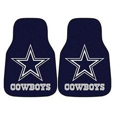 "NFL Dallas Cowboys 2-Piece Carpeted Car Mats - 18"" x 27"""