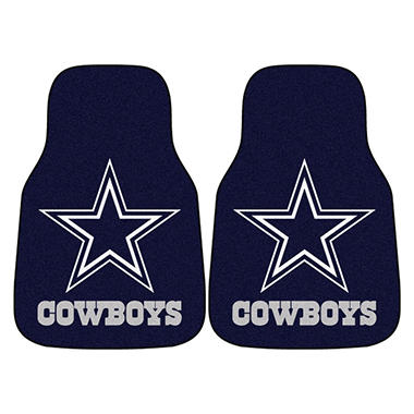 "NFL Dallas Cowboys 2-Piece Carpeted Car Mats - 18"" x 27"""