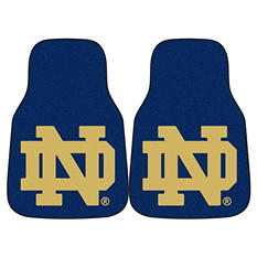 "NCAA Notre Dame 2-Piece Carpeted Car Mats - 18"" x 27"""