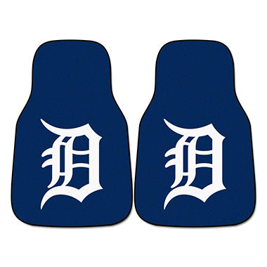 MLB Detroit Tigers 2-Piece Carpeted Car Mats - 18