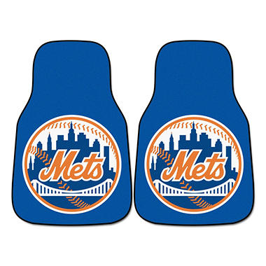 MLB New York Mets 2-Piece Carpeted Car Mats - 18