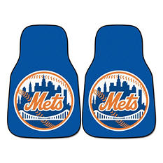 "MLB New York Mets 2-Piece Carpeted Car Mats - 18"" x 27"""