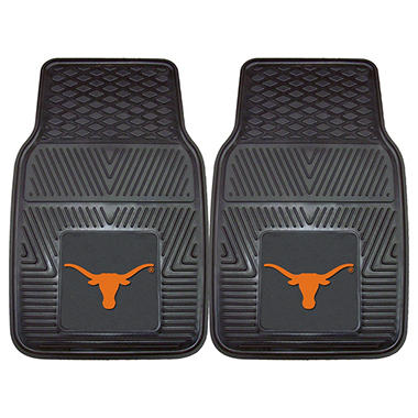 "NCAA Texas Heavy-Duty 2-Piece Vinyl Car Mats - 18"" x 27"""
