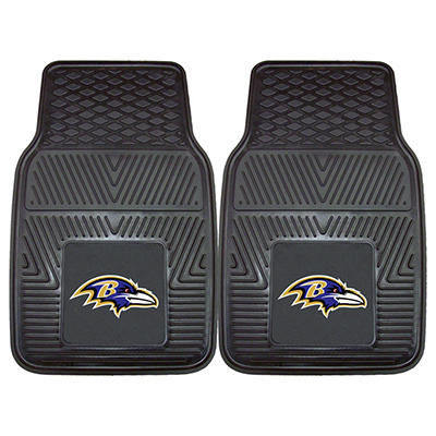 "NFL Baltimore Ravens Heavy-Duty 2-Piece Vinyl Car Mats - 18"" x 27"""