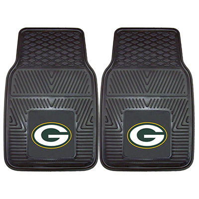 "NFL Green Bay Packers Heavy Duty 2-Piece Vinyl Car Mats 18"" x 27"""