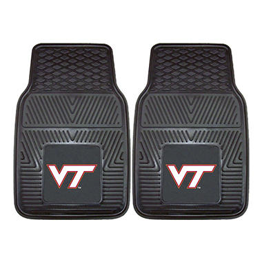 "NCAA Virginia Tech Heavy-Duty 2-Piece Vinyl Car Mats - 18"" x 27"""