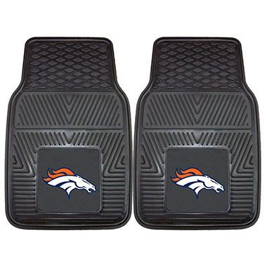 NFL Denver Broncos Heavy-Duty 2-Piece Vinyl Car Mats - 18