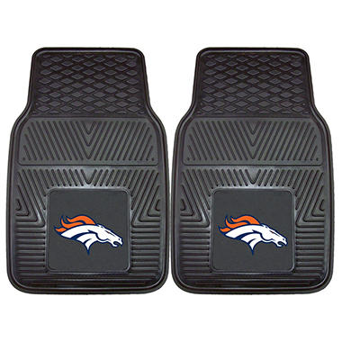 NFL Denver Broncos Heavy-Duty 2-Piece Vinyl Car Mats - 18