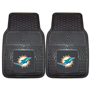 "NFL Miami Dolphins Heavy-Duty 2-Piece Vinyl Car Mats - 18"" x 27"""