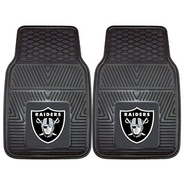 "NFL Oakland Raiders Heavy-Duty 2-Piece Vinyl Car Mats - 18"" x 27"""