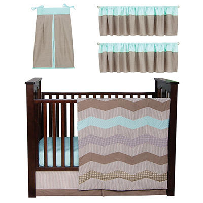 Trend Lab Baby Crib Bedding Set, 6 pc. - Cocoa Mint