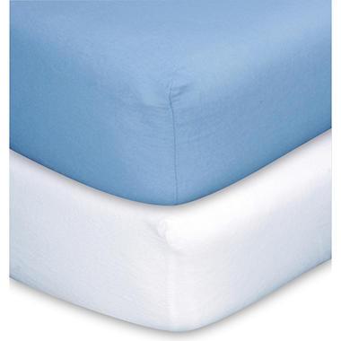 Trend Lab Crib Sheets  Blue & White