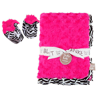 Trend Lab Receiving Blanket and Bootie Set - Zahara Zebra