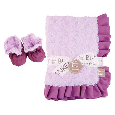 Trend Lab Receiving Blanket and Bootie Set - Lilac Rosette