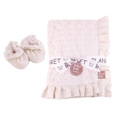 Trend Lab Receiving Blanket and Bootie Set - Cream Rosette