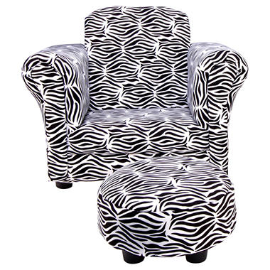 Trend Lab Chair and Ottoman - Zahara Zebra