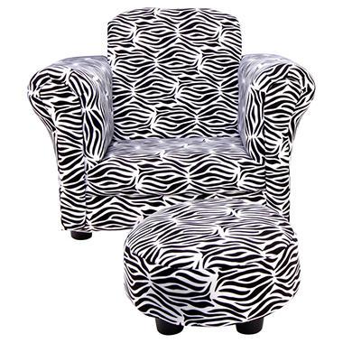 Trend Lab Chair and Ottoman - Zahara Zebra