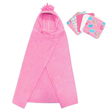 Trend Lab Hooded Towel and Wash Cloth Set - Princess - 6 pc.