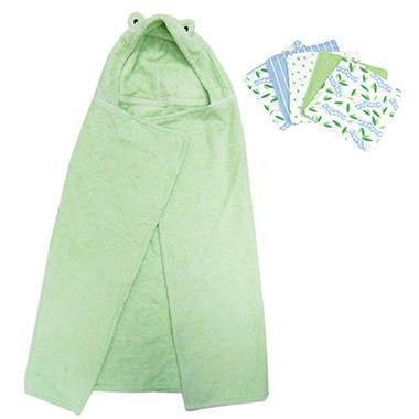 Trend Lab Hooded Towel and Wash Cloth Set - Frog - 6 pc.