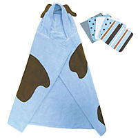 Trend Lab Hooded Towel and Wash Cloth Set - Blue Puppy - 6 pc.