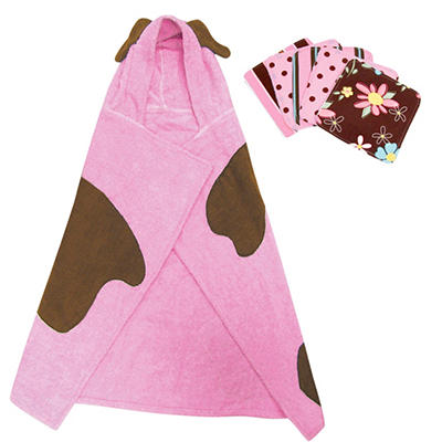 Trend Lab Hooded Towel and Wash Cloth Set - Pink Puppy - 6 pc.