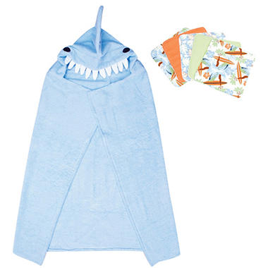 Trend Lab Hooded Towel and Wash Cloth Set - Shark - 6 pc.