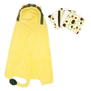 Trend Lab Hooded Towel and Wash Cloth Set - Lion - 6 pc