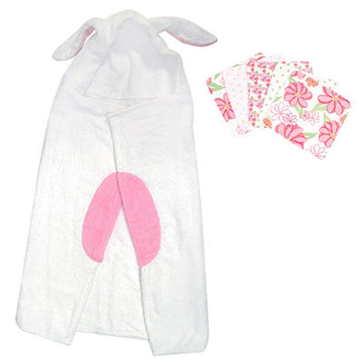 Trend Lab Hooded Towel and Wash Cloth Set - Bunny - 6 pc.
