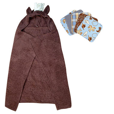 Trend Lab Hooded Towel and Wash Cloth Set - Horse - 6 pc.