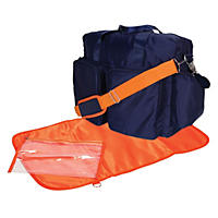 Trend Lab Deluxe Duffle Diaper Bag, Navy Blue and Orange