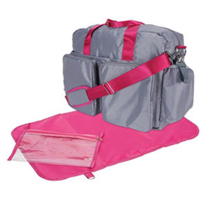 Trend Lab Deluxe Duffle Diaper Bag, Gray and Magenta
