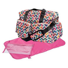 Trend Lab Deluxe Duffle Diaper Bag, French Bull Ziggy Multi-Colored Chevron