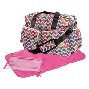 Trend Lab Deluxe Duffle Diaper Bag, French Bull Ziggy Multi-Colored Chevron
