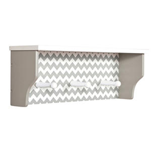 Trend Lab Shelf with Pegs, Dove Gray Chevron